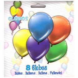 Pack 8 Globos, Colores Surtidos