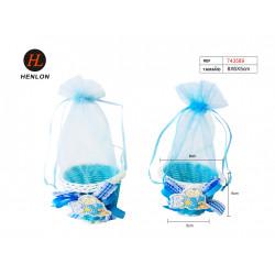 Cesta Osito Azul con Tul. Detalles para bautizo y baby shower