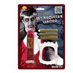 Set de vampiro, maquillaje+ dientes+sangre