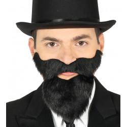 Barba negra larga adhesiva