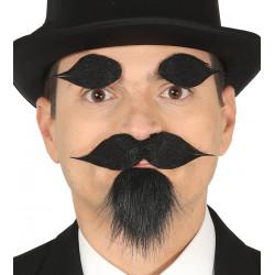 Perilla, bigote y cejas negras adhesivas