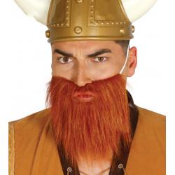 Barba larga castaña de vikingo o barbaro