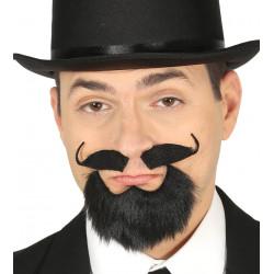 Perilla negra con bigote y adhesivo