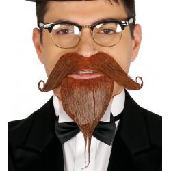 Perilla y bigote pelirrojo con adhesivo