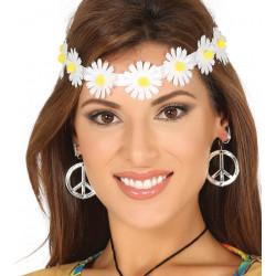 Diadema/cinta de Hippie con flores blancas