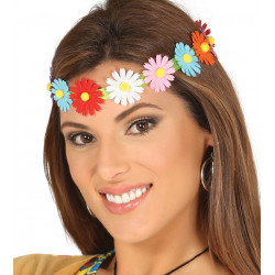 Diadema/cinta Hippie con flores multicolor