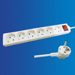 Alargador multienchufe con interruptor, 1.5metros